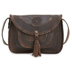 Patricia Nash 'Beaumont' Crossbody Bag ($189) ❤ liked on Polyvore featuring bags, handbags, shoulder bags, chocolate, western purses, crossbody handbags, leather cross body purse, brown crossbody purse and western leather purses