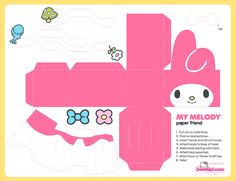 My Melody Free Printable Box. Cute Crafts, Diy And Crafts, 3d Paper Crafts, Hello Kitty Crafts, Paper Doll Template, Instruções Origami, Anime Crafts, Japon Illustration, Sanrio Characters