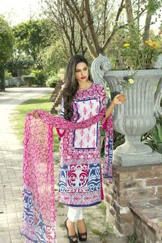 Show details for Crimson Red and White Lawn Kameez with Trousers
