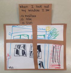 What do you see outside your window? We read The Hello Goodbye Window written by Norton Juster and drew what we see outside our own windows.