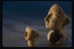 """Stone heads, Oxus Civilization; Turkmenistan. - for comparison with those more stylistically unibrowed """"fish faces"""""""