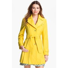 Via Spiga Trench Coat & Calvin Klein Sheath Dress yellow ❤ liked on Polyvore