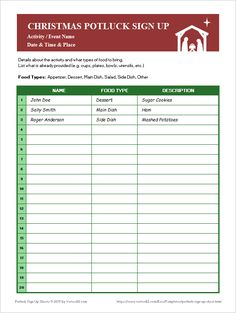 Potluck Assignment Sheet  SignUpSheetTemplateFreeDownload