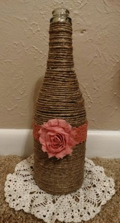 Twine Wrapped Bottle with Lace and Shabby by NovelDesignbyDeidre, $12.00