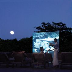 Maldives Resort Soneva Fushi - outdoor cinema with pop-corn and ice cream - very fun and romantic