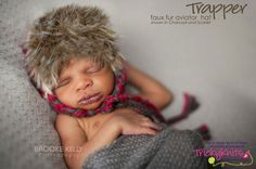 Baby Boy Aviator Hat with Faux Fur Trim - perfect newborn photography prop or for your own wee one!   SAVE 10% with code PINTEREST10! #knitting #babyboyhat #newbornphotoprop #fur hat