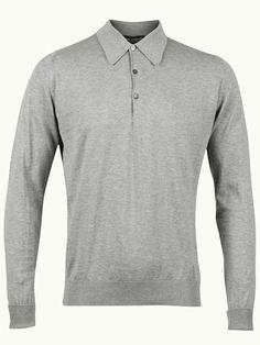 John Smedley Finchley Long Sleeve Polo Shirt - Sliver (Grey) - Available to buy at http://www.afarleycountryattire.co.uk/product-tag/john-smedley-finchley-long-sleeve-polo-shirt/ #johnsmedley #mensfashion #poloshirt #afarleycountryattire