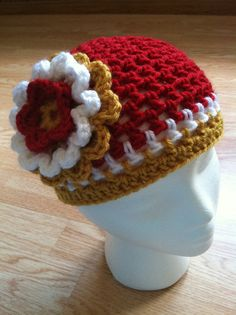 351d44c374510 Kansas City Chiefs inspired crochet flower hat by StitchinSally
