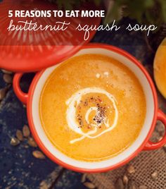 5 Reasons to Eat More Butternut Squash Soup- plus 13 wholesome butternut squash soup recipes. Paleo Soup, Healthy Soup Recipes, Real Food Recipes, Cooking Recipes, Healthy Eats, Appetizer Recipes, Healthy Foods, Vegetarian Recipes, Paleo Grubs