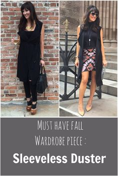Why you need a sleeveless duster in your closet this fall http://www.jennysuemakeup.com/2015/10/the-must-have-wardrobe-piece-for-fall-the-sleeveless-duster.html