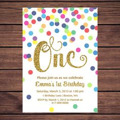 Hey, I found this really awesome Etsy listing at https://www.etsy.com/au/listing/266501918/rainbow-gold-1st-birthday-invitation
