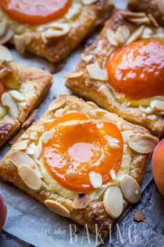 Apricot Almond Pastries - Flaky puff pastry filled with cheesecake, fresh apricot and flaked almonds. Apricot Almond Pastries - Flaky puff pastry filled with cheesecake, fresh apricot and flaked almonds. Apricot Danish Recipe, Apricot Recipes, Almond Recipes, Puff Pastry Desserts, Puff Pastry Recipes, Cookie Recipes, Dessert Recipes, Tart Recipes, Deserts