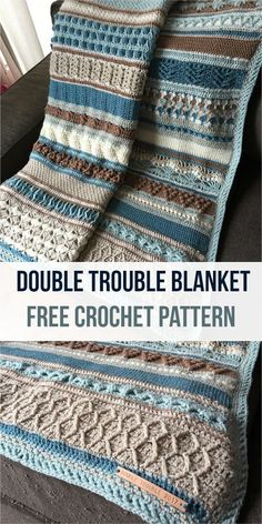 Double Trouble Crochet Blanket is one of the most beautiful blankets I have ever seen. Only your imagination and color perception can limit you in creating this project. Do not wait, see the free crochet pattern and create your own! Link for free pattern is below! Skill Level: Intermediate, Craft: Crochet Double Trouble Crochet Blanket – Visit free crochet pattern