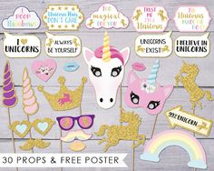 Unicorn Photo Booth Props Unicorn Birthday Party Photobooth Unicorn Birthday Parties, Birthday Party Themes, Girl Birthday, Unicorn Photos, Kids Party Decorations, Halloween Party Supplies, Photo Booth Props, Diy Party, Ship