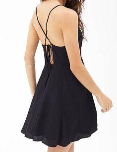 Criss Cross Back Chiffon Skater Dress - Black