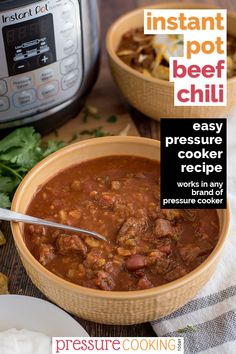This easy Pressure Cooker / Instant Pot Beef and Bean Chili is a thick hearty chili thats packed with beans meat and tomatoes. Its sure to be a big hit at your next chili cook-off! Pressure Cooker Cookbook, Stovetop Pressure Cooker, Easy Pressure Cooker Recipes, Pressure Cooking Today, Instant Pot Pressure Cooker, Slow Cooker, Potted Beef Recipe, Spicy Soup, Chili Cook Off