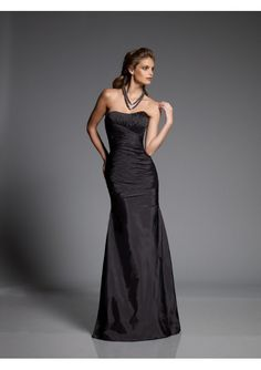 Elegant floor Length Strapless Satin Bridesmaid Dresses with flattering ruched detail all over the Bodice