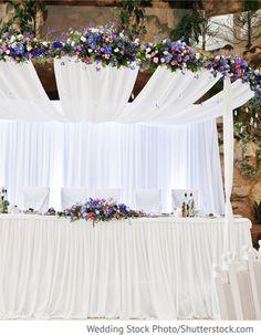 Tisch Brautpaar mit Dekoration für die Hochzeit