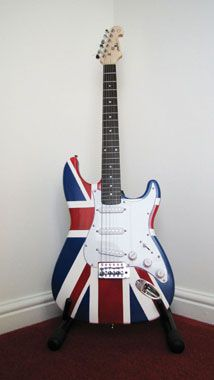 Guitar has been spray painted by competition winner Brian Stanley Best Spray Paint, Spray Paint Wood, Rustoleum Spray Paint, Spray Painting, Guitar Design, Union Jack, Wood Furniture, Sweet Home, Competition