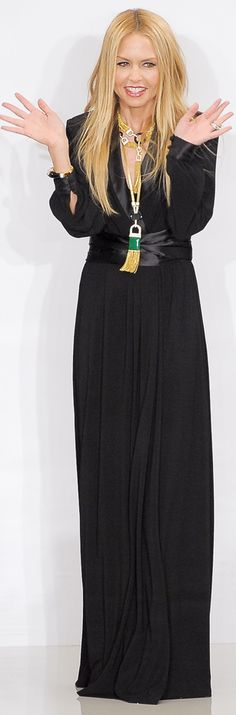Rachel Zoe - black full length dress with gold and emerald necklace