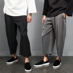 Normcore Over Loose Fit Pleated Lining Slacks Pants