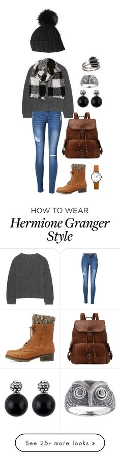"""""""Hermione Granger"""" by missyarnbird on Polyvore featuring Uniqlo, Charlotte Russe, Barneys New York and Black"""