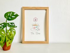 Affiche aquarelle et encre de chine, tea time, flowers, watercolor Reproduction, Tea Time, Frame, Illustration, Decor, Watercolor And Ink, Water Colors, Envelope Punch Board, India Ink