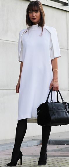 How To Rock A White Dress In Fall women fashion outfit clothing stylish apparel @roressclothes closet ideas