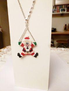 Christmas Pendant with beaded Santa Claus:
