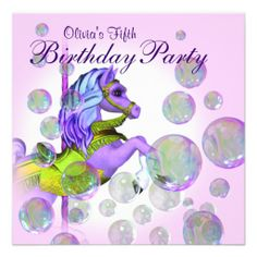 Pink Bubbles Carousel Pony Girls Birthday Party Custom Invitations Bubble Parties 12th