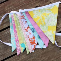 Love these fabrics! Bunting Ideas, Banner Ideas, Nursery Inspiration, Nursery Ideas, Small Flags, Party Flags, May Weddings, Fun Prints, Color Themes
