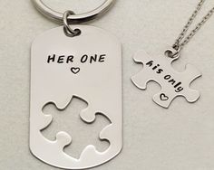 Her One His Only Keychain and Necklace  Couples Gift by TwentySix7