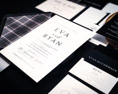One of our first designs and yet still one of our most popular... This simple understated design is timeless... Modern Wedding Invitations, Wedding Stationery, Monochrome Weddings, Tartan Wedding, Bespoke Design, Stationery Design, One Design, Thank You Cards, Our Wedding