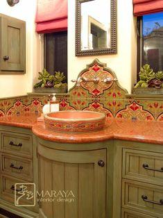 I love the warmth and personality of this space. Spanish Bathroom with Malibu Tile - mediterranean - bathroom - santa barbara - Maraya Interior Design Mediterranean Bathroom Design Ideas, Mediterranean Style, Mediterranean Kitchen, Feng Shui, Spanish Bathroom, Spanish Tile, Spanish Colonial, Tuscan Bathroom, Spanish Kitchen