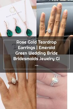 Rose Gold Teardrop Earrings | Emerald Green Wedding Bride Bridesmaids Jewelry Gift Bridesmaid Jewelry, Bridesmaids, Wedding Rings Teardrop, Emerald Green Weddings, Teardrop Earrings, Wedding Bride, Jewelry Gifts, Rose Gold, Jewels