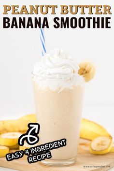 Enjoy this easy peanut butter banana smoothie for a tasty breakfast idea or treat any time of the day. Your kids will love this rich and creamy smoothie. Smoothies With Almond Milk, Easy Smoothies, Smoothie Recipes, Healthy Breakfast For Kids, Easy Snacks For Kids, Kid Snacks, School Snacks, Vitamix Peanut Butter, Peanut Butter Banana