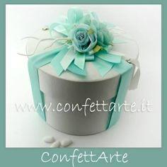 Scatola cilindrica in cartone con decori tiffany #tiffany #confettarte