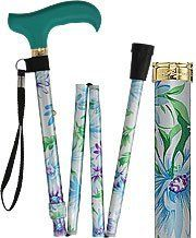 Glorious Gardens Adjustable Folding Cane by Royal Canes. $27.95. This gorgeous folding cane features a one of a kind teal colored wooden derby style handle which really complements the floral shaft.  Featuring light blues and greens with purple accents this cane is a real beauty.  Plus, it folds to a small, compact size, making it perfect for storing under your car seat, or even in your suitcase when you travel. Place your order today! Includes a convenient, comfortable fa...