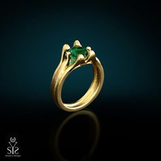 14K yellow gold and Green cubic zircon promise ring, alternative designer engagement ring with gemstone setting.