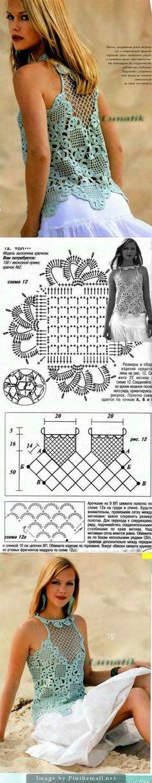 Venetian Squares Top: Crochet square lace motif chart & assembling diagram ~~ Poncho Au Crochet, Mode Crochet, Crochet Art, Crochet Motif, Crochet Designs, Crochet Tops, Crochet Blocks, Crochet Squares, Pochette Portable