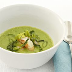 Recipe for Seafood Made Simple Chilled Pea Soup with Shrimp- This soup is tasty and refreshing!