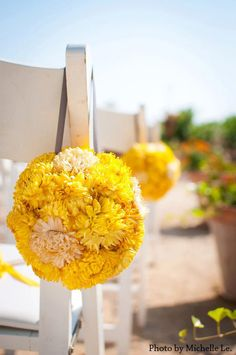 Eco-Friendly Two Tone Wedding Pomander - yellow and ivory dried flowers, green wedding, flower girl, bouquet, aisle decoration, decor. $19.50, via Etsy.