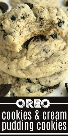 Oreo Cookies & Cream Pudding Cookies