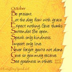 October Blessings, Dear Ones!