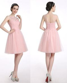 Tulle Pink Appliques Prom Dresses Homecoming Dress ,Sweetheart dress