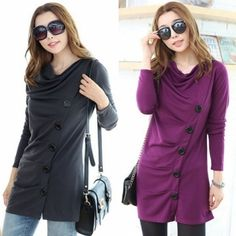Stylish Autumn Winter Women's Fashion Cowl Neck Oblique Button Embellished Ruched Coat