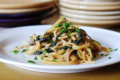 Creamy mushroom pasta with caramelized onions and spinach...Yummmmm