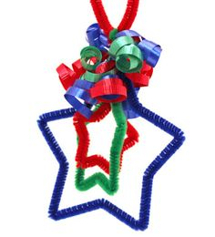 Easy Christmas Crafts Three Stars Chenille Ornament finished and on display