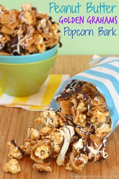 Recipes : Peanut Butter Golden Grahams Popcorn Bark - a sweet and salty, totally addictive crunchy snack drizzled with chocolate | cupcakesandkalechips.com