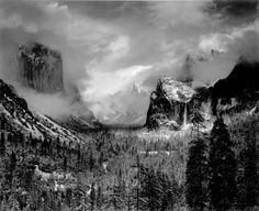 "Ansel Adams ""Yosemite Valley clearing winter storm"""